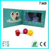 Cartão eletrônico video do convite do casamento do LCD de 7 polegadas