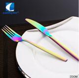 Rainbow plaqué PVD 18/0 coutellerie en acier inoxydable fixée pour le Restaurant et hôtel