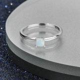 Anel Opal simples banhado ródio 925 prata esterlina Jóias