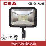 Percentil 10-50 W UL cUL Dlc Aprovado Holofote de LED com Suporte da Articulação