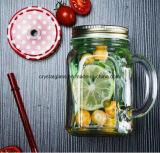 Bleifreies Glasmaurer-Glas mit Kappe und Stroh, Maurer-Glas mit Griff
