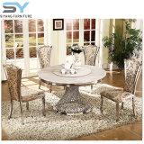 Mobiliário de jantar restaurante Conjunto de jantar mesa de jantar em mármore de Aço Inoxidável