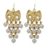 White Pearl Rhinestone plaqué or Owl Dangle Drop Earrings
