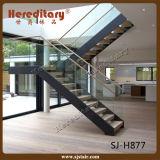 ステアケース/アーク階段/Spiralプレハブの鋼鉄木製のまっすぐな階段