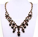 La fina Bisutería/ Oro chapado de aleación de zinc resina negra Collar Colgante de Cristal biselado/ hechos a mano collares de moda (PN-062)