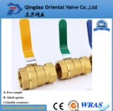 Tipo vávula de la cuerda de rosca de BSPT/NPT de bola de cobre amarillo del mismo tamaño con el cromo plateado para el petróleo