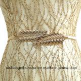 Doppelt-Schulter V-Stutzen schnüren sich oben langes Entwurfs-Goldfarben-Abend-Kleid