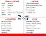 baterias 6FM55 solares terminais dianteiras para UPS, vida de serviço mais longa