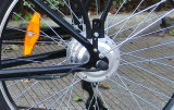 도시 여자 사용 리튬 건전지 전기 자전거