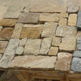 De Ardósia natural Gneiss amarelo fora da parede solta a pedra (SMC-FS002)