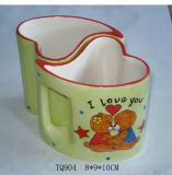 Autocollant de l'os d'impression de l'ours de la Chine en forme de coeur tasse à café de promotion (WSY767M)