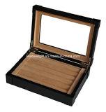 黒いLeatheretteのカフスボタンのリングの記憶のケースのオルガナイザーの人の宝石箱