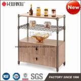 Armazenamento da cozinha da patente DIY mobília Aço-De madeira do mini com parte superior do MDF