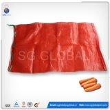 Haltbare rote Röhrenbeutel des linon-25kg für verpackenkartoffeln