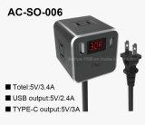 striscia di potere 3-Outlet più lo zoccolo Port dell'interruttore di USB-C