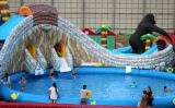 Parque inflável da água do kong do rei com piscina 3