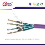 共通の平らなCat7ネットワークジャンパー線の銅の白い標準