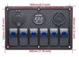 Un interruttore on-off dei 6 del gruppo di automobile del crogiolo LED di attuatore dell'interruttore interruttori marini automatici impermeabili del comitato con il voltmetro
