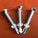 Cabeça Chata com 6 costelas parafusos de perfuração automática da Philips com asas de alta qualidade com revestimento de zinco