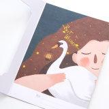 Carte de papier de cadeau personnalisée par qualité promotionnelle, impression de carte de voeux