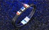 Retro cuoio Bracelet&Bangles di cuoio trasversale d'acciaio di titanio del Knit di 2017 modi per gli uomini