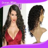 100% Humano pelo brasileño profunda ola pleno encaje peluca