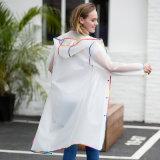 Женщин красочные кромка частично прозрачный EVA водонепроницаемый Дождевик тонкий слой с кожухом для путешествий