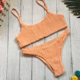 Heißer verkaufender reizvoller reiner Farben-Bikini kräuselte zwei Stücke Sommer-Badebekleidungs-