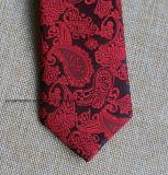 Poly Red tissé Paisley cravate pour mariage