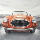Pintura al óleo hecha a mano del coche agraciado del arte del diseño de Morden del coche azul