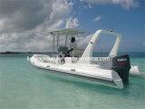 Liya 22pies deporte bote inflable rígido Rib de fibra de vidrio barco