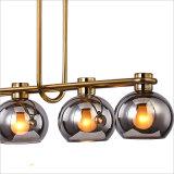 현대 연기 Brozne 완료 정착물 홍조 마운트에 있는 4개의 빛을%s 가진 회색 유리제 거는 펀던트 점화 램프 천장 샹들리에
