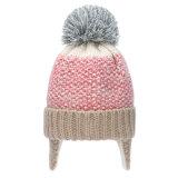 Le crochet tricoté chaud d'Earflap POM POM de Beanie de l'hiver mignon de gosses recouvre le chapeau principal de réchauffeur d'oreille pendant 1-5 années (HW601)