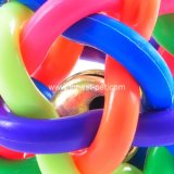Bunter Haustier-Produkt-Kauen-Spielzeug-Regenbogen-weiche Plastikhundekugel