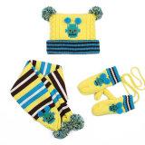 Do chapéu longo unisex do lenço da tampa da aleta das luvas do lenço do Beanie da torção POM POM do cabo do inverno das meninas 3PC dos meninos das crianças do bebê dos miúdos lenço ajustado (SK408S)