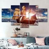 5 لون يطبع نوع خيش حديثة [سا بوأت] غروب صورة زيتيّة شاطئ [سسكب] [كدروس] [دكرسون] جدار صورة لأنّ يعيش غرفة