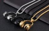男女兼用音楽耳せんのネックレスのための方法宝石類のステンレス鋼の銀か黒または金音楽耳せんのヘッドホーンの吊り下げ式のネックレス
