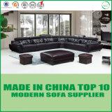 Самомоднейшая секционная домашняя мебель l комплект софы кожи угла формы