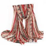 Moins cher l'écran de soie imprimé de polyester léger voile Fashion foulard (Hz93)