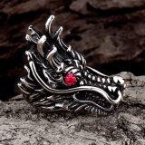 Ring van het Roestvrij staal van de Stijl van de Juwelen van de manier de Punk met Rood Bergkristal