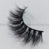 Venta caliente de gran calidad de las pestañas de visón doble capa de piel de visón Natural latigazos por medio de los ojos