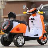 건전지를 가진 전기 장난감 기관자전차가 전기 세발자전거에 의하여 농담을 한다