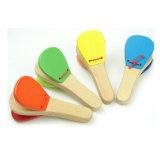 Het houten Stuk speelgoed van de Jonge geitjes van de Percussie van het Instrument van het Handvat van de Klep van de Castagnet Muzikale Peuter