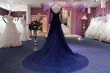 Vestido de noche largo largo de la alineada del azul real del cordón de las fundas