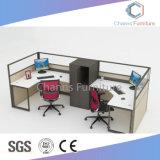 Blocco per grafici L stazione di lavoro di legno del metallo di modo della Tabella dell'ufficio di figura con la parte superiore di vetro (CAS-W31428)