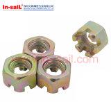 DIN546 12L'acier14 ronde fendue écrous M10X1.5p en usine de Shenzhen
