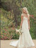 A-Line крепежные втулки устраивающих официальных Gowns кружева Бич свадебные платья Яо36