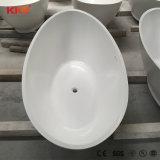 Vasca da bagno di pietra di superficie solida diritta libera della stanza da bagno del basamento della resina
