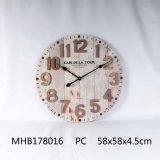 MDF Reloj de pared con números de metal con acabado en blanco