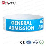 Wristband de la impresión RFID Tyvek de la pantalla de seda con número de serie